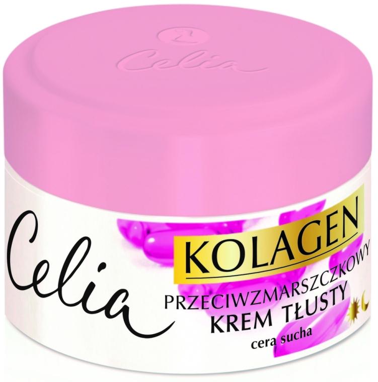 Fettige Anti-Falten Gesichtscreme für trockene Haut mit Kollagen und Vitamin A und E - Celia Collagen Cream