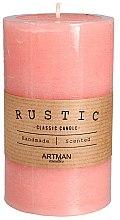 Düfte, Parfümerie und Kosmetik Handgemachte Duftkerze rosa 7x11,5 cm - Artman Rustic