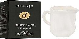 Düfte, Parfümerie und Kosmetik Massagekerze in dekorativem weißen Keramiktiegel mit Arganöl - Organique Spa Candle (mit Griff)