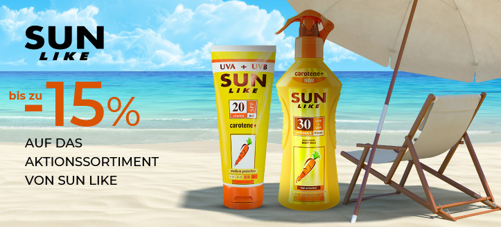 Bis zu 15% Rabatt auf das Aktionssortiment von Sun Like. Die Preise auf der Website sind inklusive Rabatt