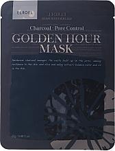 Düfte, Parfümerie und Kosmetik Porenverfeinernde Tuchmaske mit Hartholzkohle-Extrakt - Elroel Golden Hour Mask Charcoal Pore Control