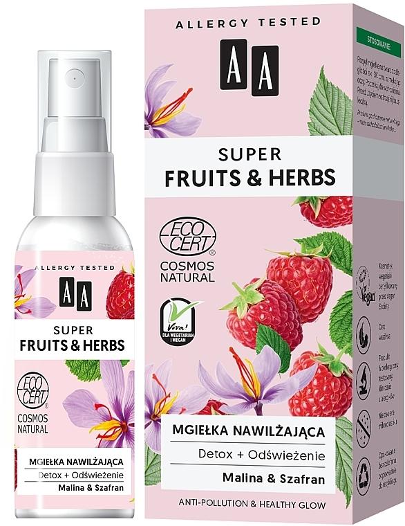 Feuchtigkeitsspendender und erfrischender Gesichtsnebel mit Himbeere und Safran - AA Super Fruits & Herbs