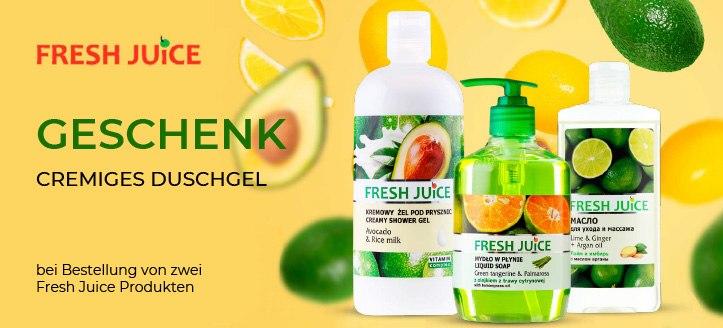 Bei Bestellung von zwei Fresh Juice Produkten bekommen Sie ein cremiges Duschgel, als Geschenk von uns