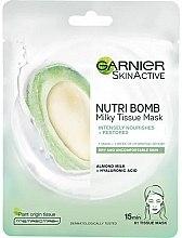 Düfte, Parfümerie und Kosmetik Intensiv pflegende Tuchmaske mit Mandelmilch und Hyaluronsäure - Garnier SkinActive Nutri Bomb Almond and Hyaluronic Acid Tissue Mask