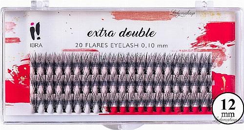 Wimpernbüschel 12 mm - Ibra Extra Double 20 Flares Eyelash C 12 mm
