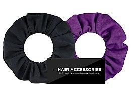 Düfte, Parfümerie und Kosmetik Haargummi-Set schwarz und violett 2 St. - MakeUp