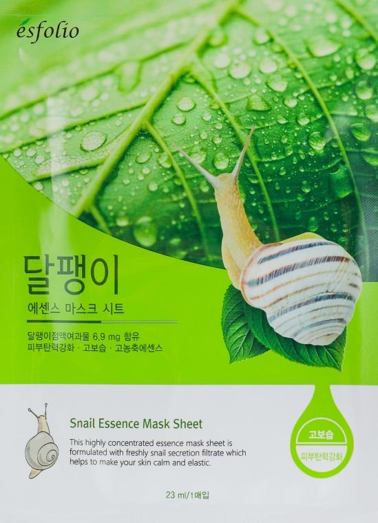 Regenerierende und beruhigende Tuchmaske für das Gesicht mit Schneckenfiltrat - Esfolio Snail Essence Mask Sheet