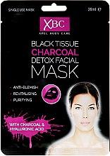 Düfte, Parfümerie und Kosmetik Revitalisierende und erfrischende Detox Tuchmaske mit Aktivkohle und Hyaloronsäure - Xpel Marketing Ltd Body Care Black Tissue Charcoal Detox Facial Face Mask