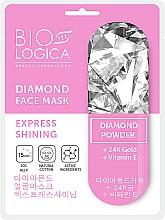 Düfte, Parfümerie und Kosmetik Tuchmaske für das Gesicht mit Diamantpulver für strahlende Haut - Biologica Diamond