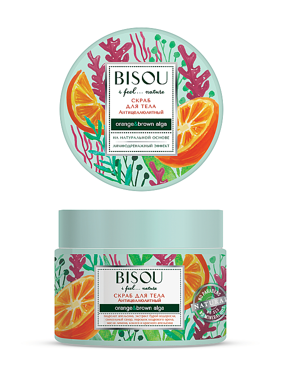 Anti-Cellulite Körperpeeling mit Orange und Braunalgen - Bisou I feel... Nature Anti-Cellulite Body Scrub Orange & Brown Algae