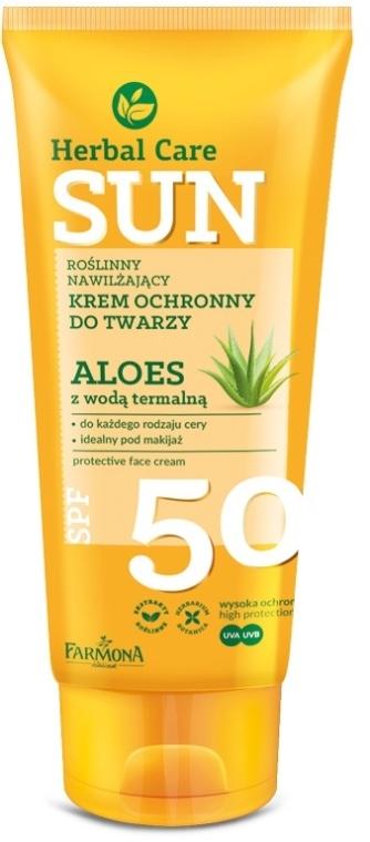 Feuchtigkeitsspendende Sonnenschutzcreme für das Gesicht mit Aloe - Farmona Herbal Care Sun SPF 50