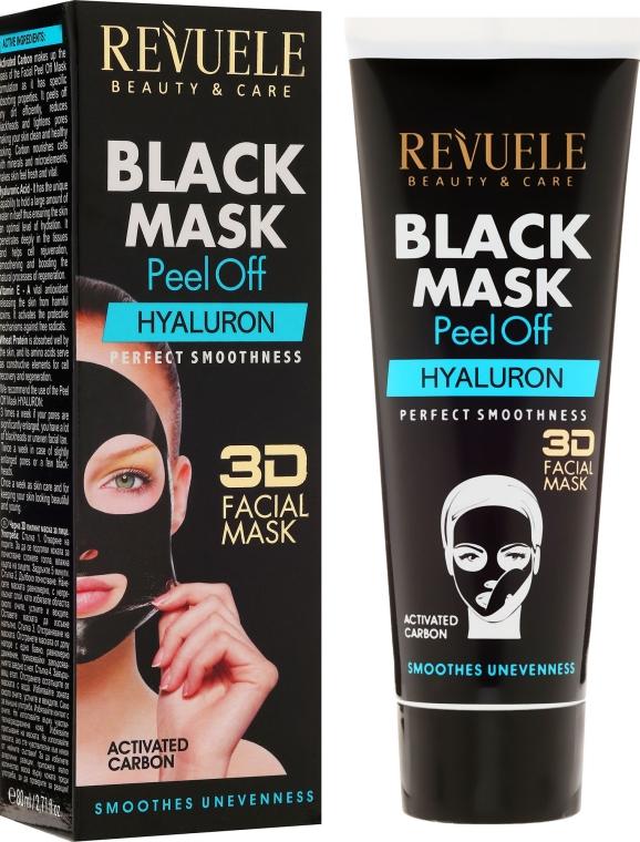 Schwarze Peel-Off Gesichtsmaske mit Hyaluronsäure - Revuele Black Mask Peel Off Hyaluron