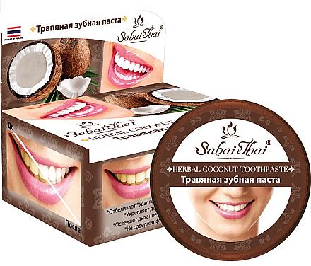 Fluoridfreie natürliche und aufhellende Zahnpasta mit Kokosöl - Sabai Thai Herbal Coconut Toothpaste