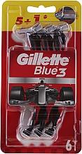Düfte, Parfümerie und Kosmetik Einwegrasierer rot-weiß 5+1 St. - Gillette Blue III Red and White