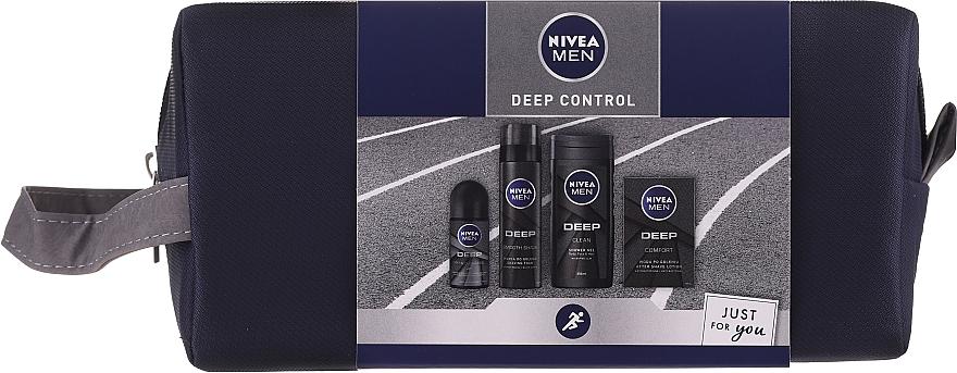 Gesichts- und Körperpflegeset - Nivea Men Deep Control 2020 (Duschgel 250ml + After Shave Lotion 100ml + Rasierschaum 200ml + Deo Roll-on Antitranspirant 50ml + Kosmetiktasche)