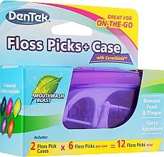 Düfte, Parfümerie und Kosmetik Zahnseide-Sticks +  Box lila und himbeere - Dentek Moulthwash Blast
