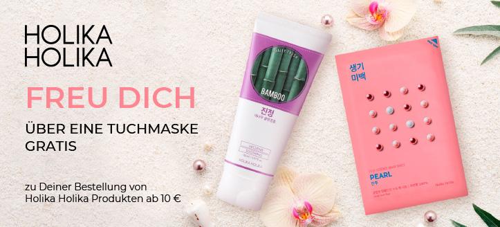 Beim Kauf von Holika Holika Produkten ab 10€ erhältst Du eine Tuchmaske geschenkt