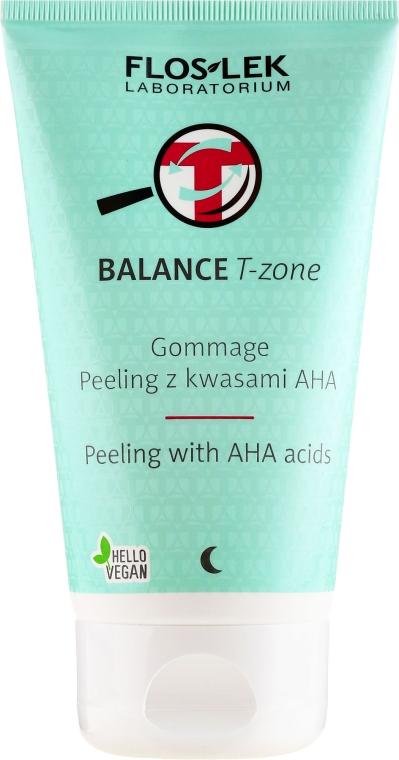 Gesichtspeeling mit AHA-Säuren für die T-Zone - Floslek Balance T-Zone Gommage Peeling With AHA Acids