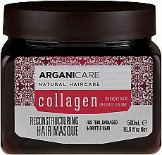 Düfte, Parfümerie und Kosmetik Rekonstruierende Maske mit Kollagen und Arganöl für dünnes, geschädigtes und sprödes Haar - Arganicare Collagen Reconstructuring Hair Masque
