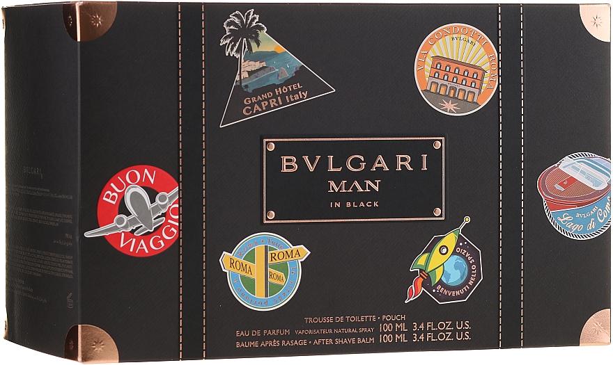 Bvlgari Man In Black - Duftset (Eau de Parfum 100ml + After Shave Balsam 100ml + Kosmetiktasche)