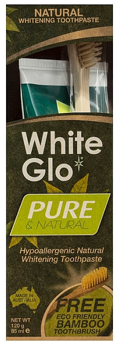 Zahnpflegeset - White Glo Pure & Natural (aufhellende Zahnpasta 85 ml & Bamboo-Zahnbürste 1 St.)