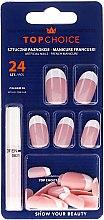 Düfte, Parfümerie und Kosmetik Künstliche Nägel French mit Kleber 74066 - Top Choice