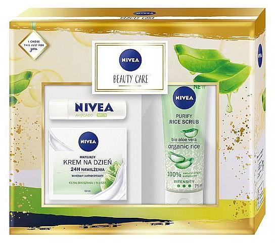 Gesichtspflegeset - Nivea Beauty Care (Gesichtscreme 50ml + Gesichtspeeling 75ml + Lippenbalsam 4.8g)
