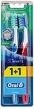 Düfte, Parfümerie und Kosmetik Zahnbürste mittel 3D White Fresh blau, rot 2 St. - Oral-B 3D White Fresh 40 Medium 1+1
