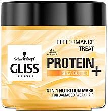 Düfte, Parfümerie und Kosmetik 4in1 Nährende Maske für strapaziertes und schwaches Haar mit Sheabutter - Schwarzkopf Gliss Kur Performance Treat