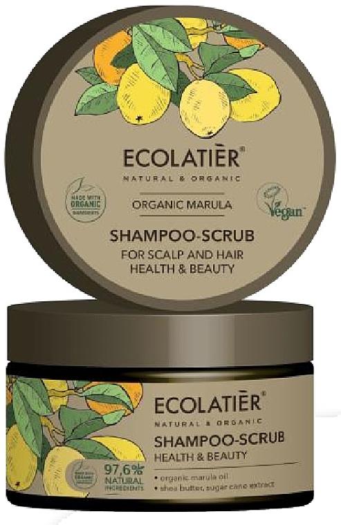 Haar- und Kopfhaut-Peelingshampoo mit Bio-Marulaöl und Sheabutter - Ecolatier Organic Marula Shampoo-Scrub