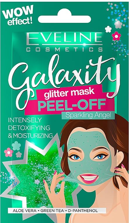 Feuchtigkeitsspendende Peel-Off-Maske für das Gesicht mit grünem Tee, Aloe Vera und D-Panthenol - Eveline Cosmetics Galaxity Glitter Mask Peel-off