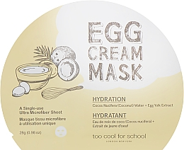 Düfte, Parfümerie und Kosmetik Feuchtigkeitsspendende Tuchmaske mit Ei-Extrakt und Kokoswasser - Too Cool For School Egg Cream Mask Hydration