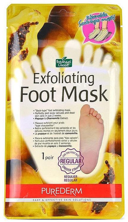 Fuß-Peeling-Maske in Socken mit mit Papaya- und Kamillenextrakten - Purederm Exfoliating Foot Mask