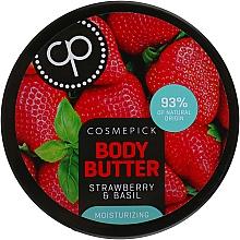 Düfte, Parfümerie und Kosmetik Feuchtigkeitsspendende Körperbutter mit Erdbeere und Basilikum - Cosmepick Body Butter Strawberry & Basil