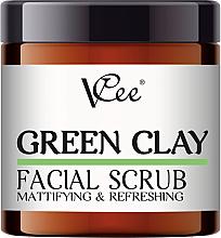 Düfte, Parfümerie und Kosmetik Mattierendes und erfrischendes Gesichtspeeling mit grünem Ton - VCee Green Clay Facial Scrub Mattifying&Refreshing