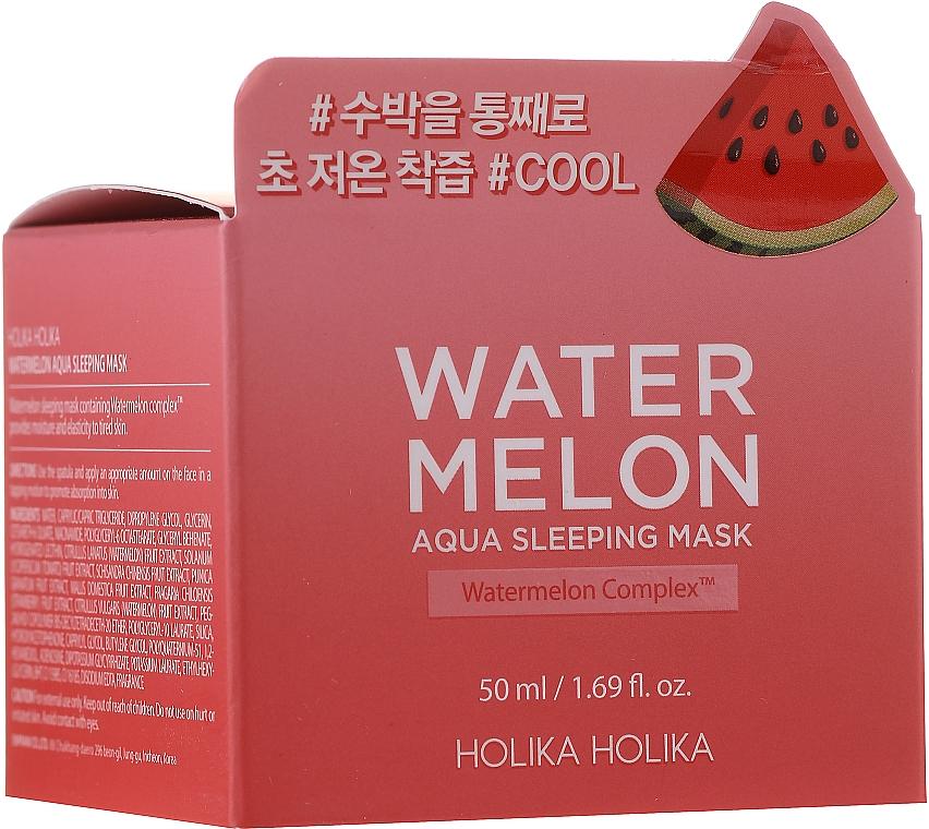 Feuchtigkeitsspendende Gesichtsmaske mit Wassermelonenextrakt - Holika Holika Watermelon Aqua Sleeping Mask