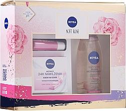 Düfte, Parfümerie und Kosmetik Gesichtspflegeset - Nivea Soft Rose (Pflegende Tagescreme 50ml + Reinigungsöl für trockene Haut 150ml + Lippenbalsam 4.8g)