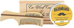 Düfte, Parfümerie und Kosmetik Bartpflegeset - Golden Beards Moustache Wax Kit + Comb (Schnurrbartwachs 15ml + Bartkamm)