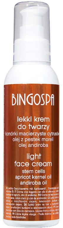 Leichte Gesichtscreme mit Aprikosenöl - BingoSpa Light Face Cream With Apricot