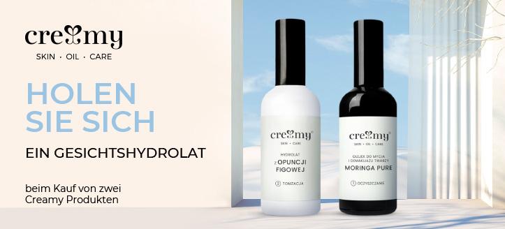 Beim Kauf von zwei Creamy Produkten bekommen Sie ein Gesichtshydrolat mit Feigenkaktus-Extraktgeschenkt