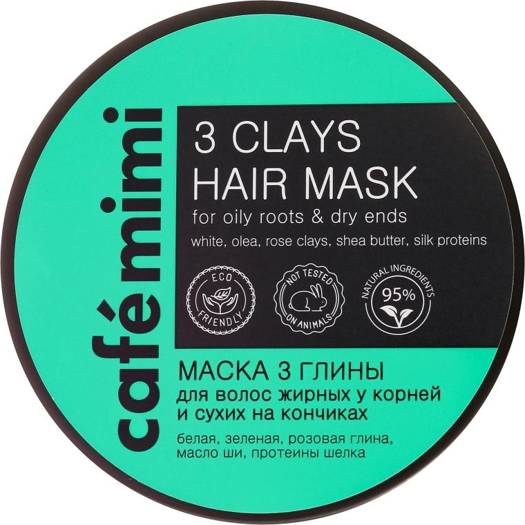 Haarmaske für fettige Wurzeln und trockene Enden mit weißer, grüner und rosa Tonerde - Cafe Mimi Mask — Bild N2