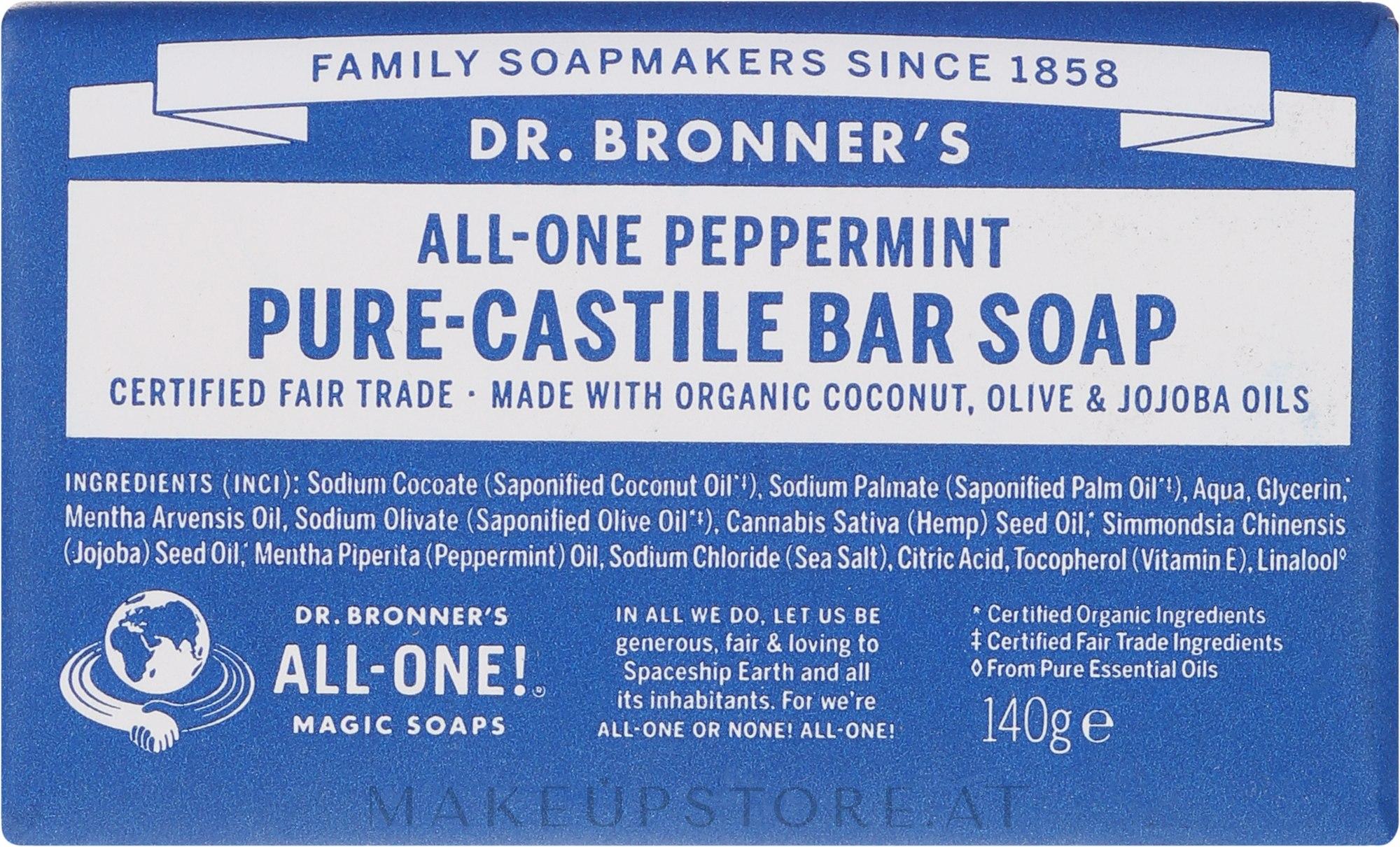 Pfefferminzseife - Dr. Bronner's Pure Castile Bar Soap Peppermint — Bild 140 g