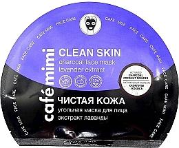Düfte, Parfümerie und Kosmetik Reinigende Tuchmaske für das Gesicht mit Aktivkohle und Lavendelextrakt - Cafe Mimi Clean Skin Charcoal Face Mask Lavender Extract