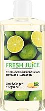 Düfte, Parfümerie und Kosmetik Massageöl mit Limette, Ingwer und Arganöl - Fresh Juice Energy Lime&Ginger+Argan Oil