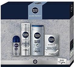 Düfte, Parfümerie und Kosmetik Gesichts- und Körperpflegeset - Nivea Men Silver Protect 2020 (After Shave Balsam 100ml + Rasierschaum 200ml + Duschgel 250ml + Deo Roll-on Antitranspirant 50ml)