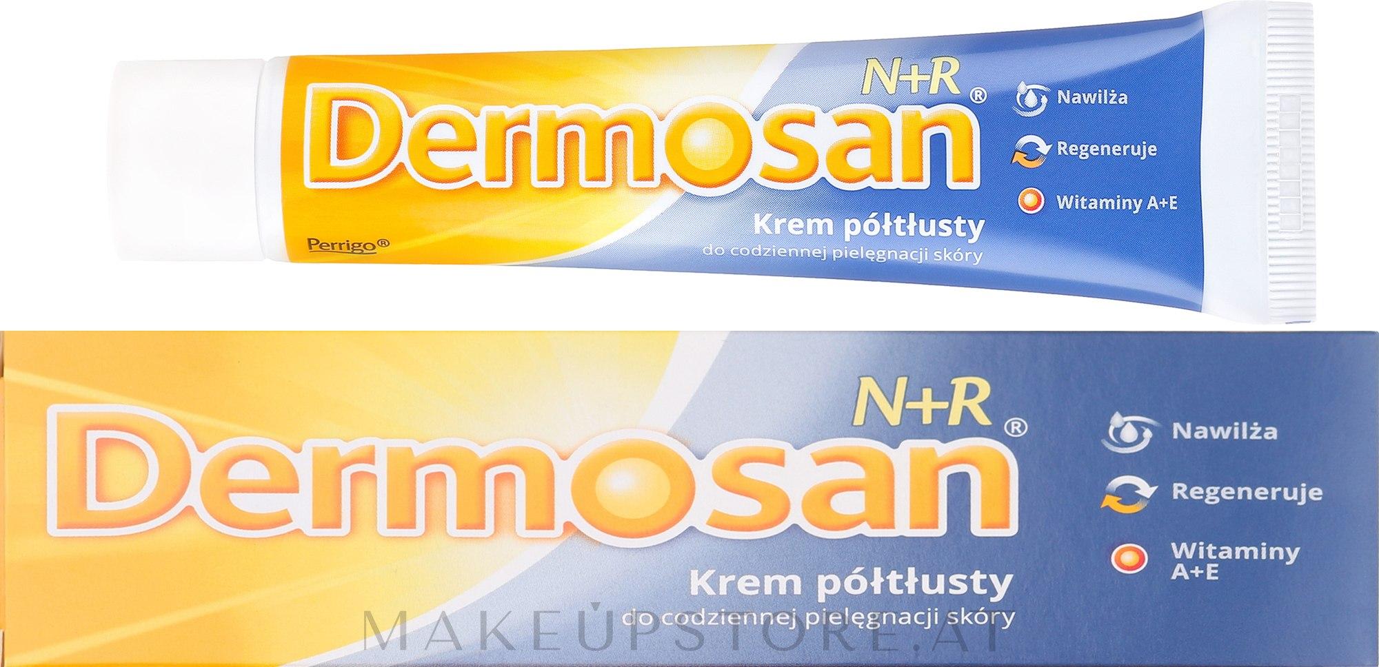 Halbfette Creme mit Vitamin A und E für Gesicht und Körper - Dermosan N+R Cream — Bild 40 g