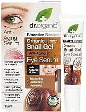 Düfte, Parfümerie und Kosmetik Glättendes, schützendes und feuchtigkeitsspendendes Anti-Aging Serum für die Augenpartie mit Schneckenschleim - Dr. Organic Bioactive Skincare Anti-Aging Snail Gel Eye Serum