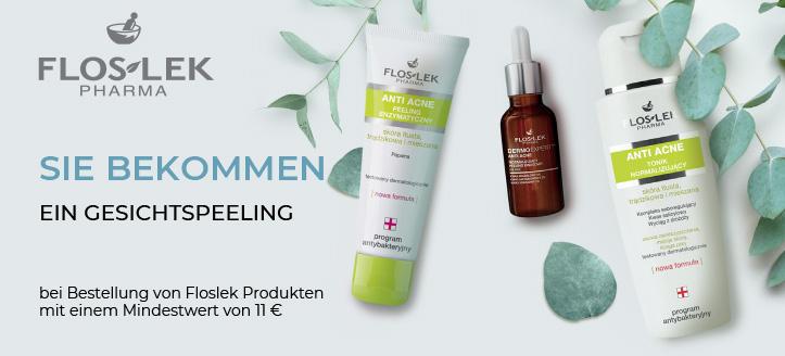 Bei Bestellung von Floslek Produkten mit einem Mindestwert von 11 € bekommen Sie als Geschenk von uns ein Enzympeeling für das Gesicht