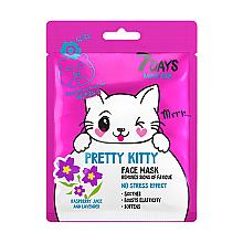 Düfte, Parfümerie und Kosmetik Beruhigende Gesichtsmaske mit Himbeere und Lavendel - 7 Days Animal Pretty Kitty