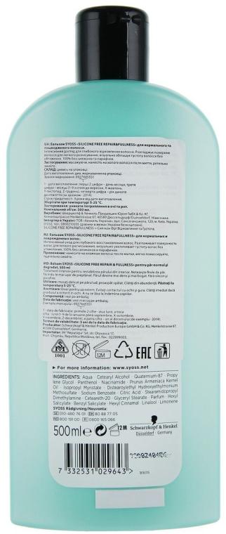 Stärkender und regenerierender Conditioner für normales und strapaziertes Haar - Syoss Silicone Free — Bild N6
